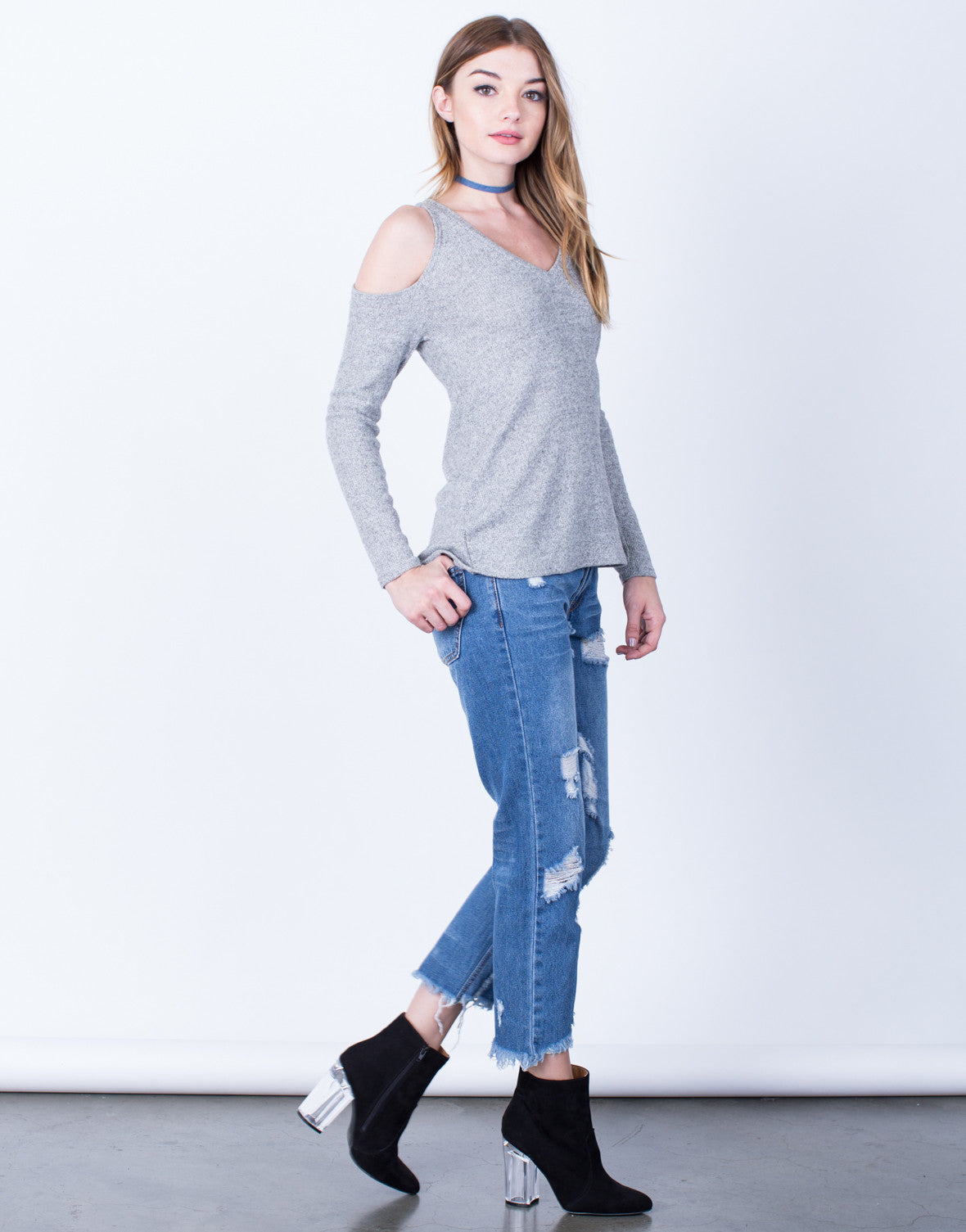 Side View of Heathered Cold Shoulder Top