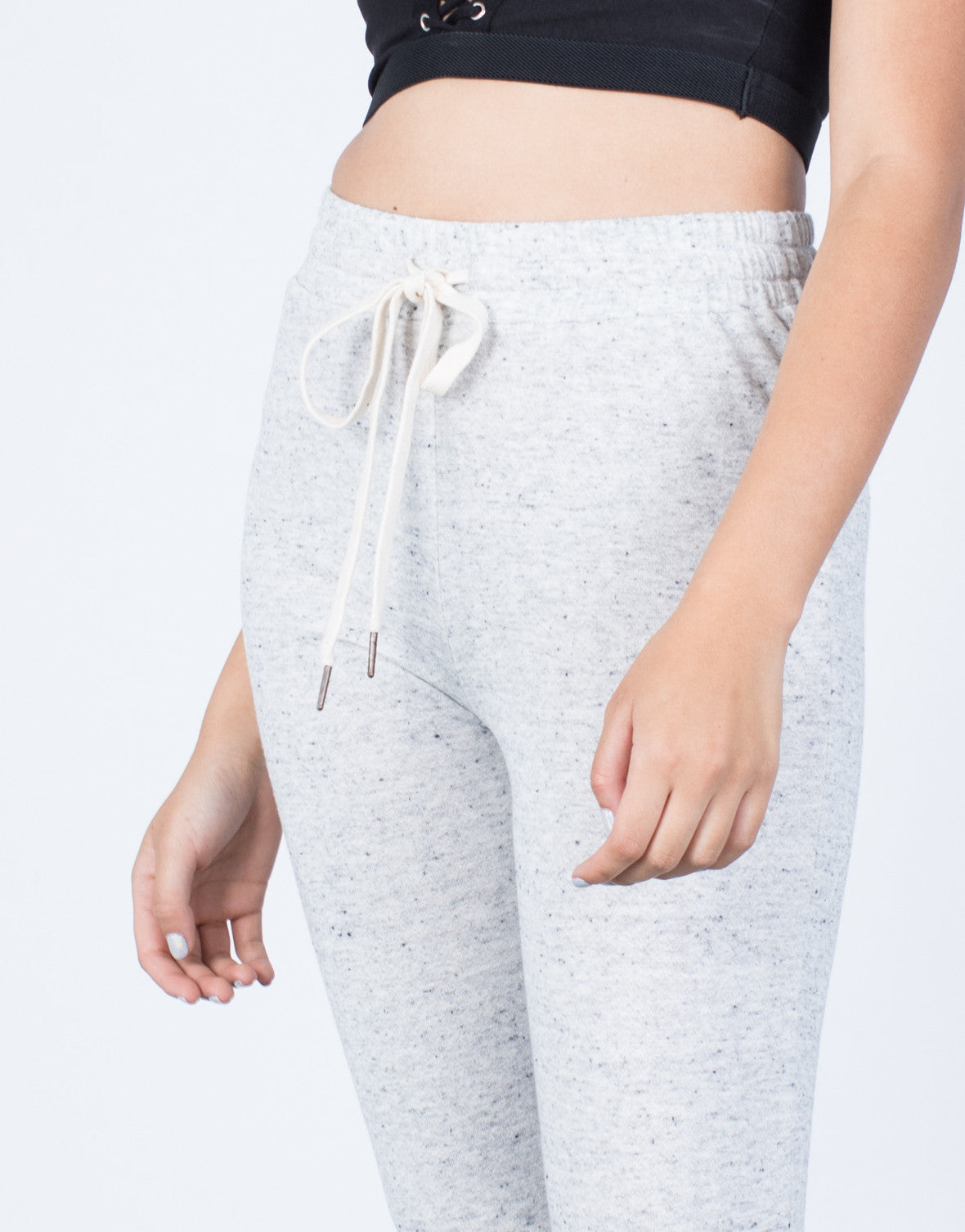Detail of Heathered Drawstring Joggers