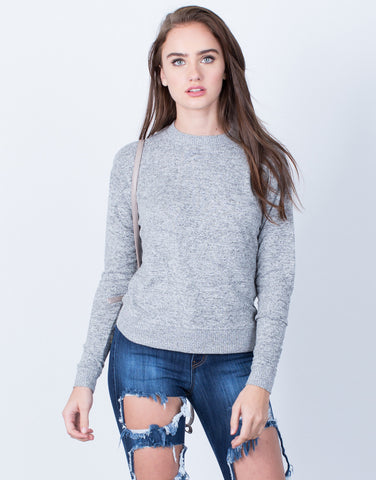 Heathered Knit Sweater Top