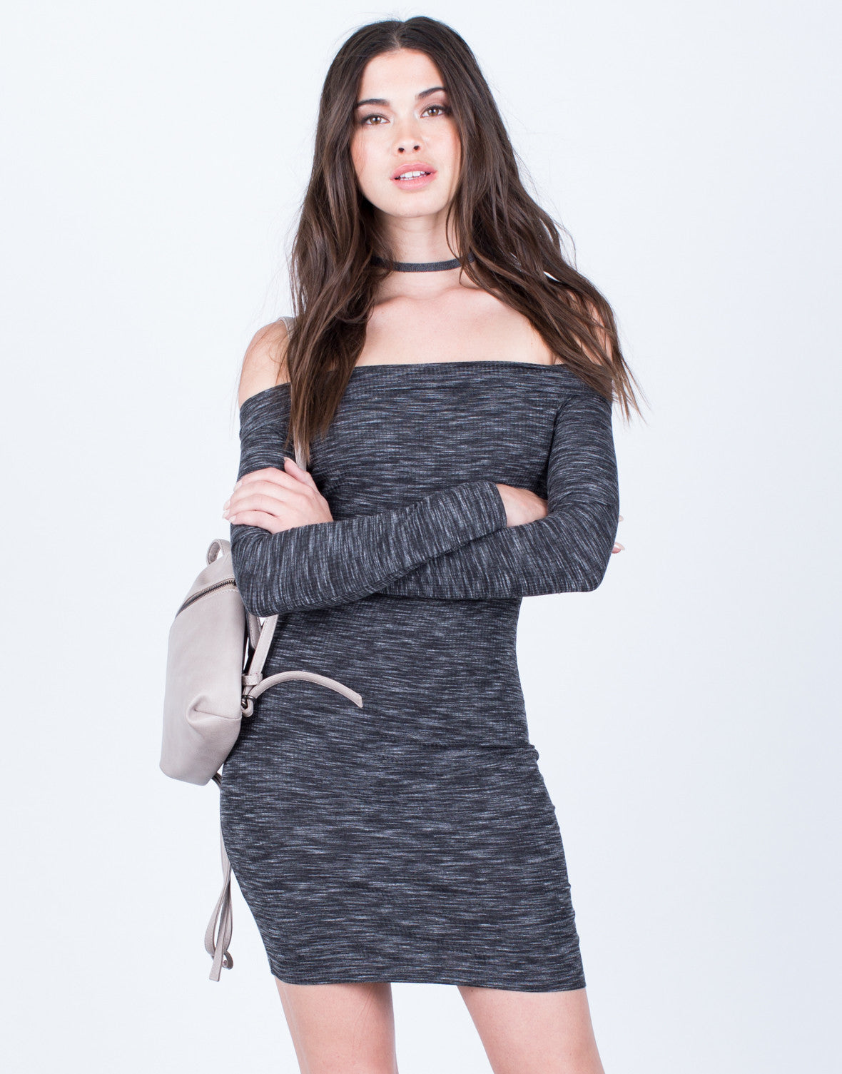 Front View of Heathered Off-the-Shoulder Dress