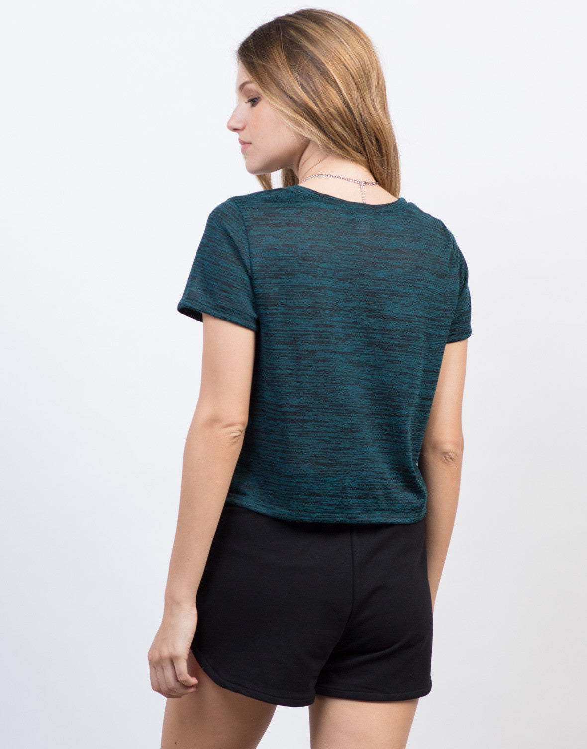 Back View of Heathered Pocket Cropped Tee