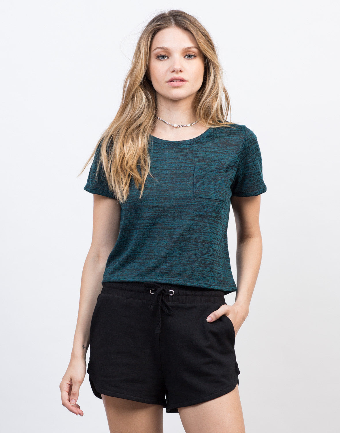Front View of Heathered Pocket Cropped Tee