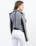Back View of Heathered Biker Jacket