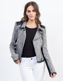Front View of Heathered Biker Jacket