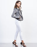 Side View of Heathered Biker Jacket