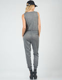 Back View of Heathered Button Down Jumpsuit
