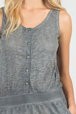 Detail of Heathered Button Down Jumpsuit