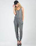 Front View of Heathered Button Down Jumpsuit