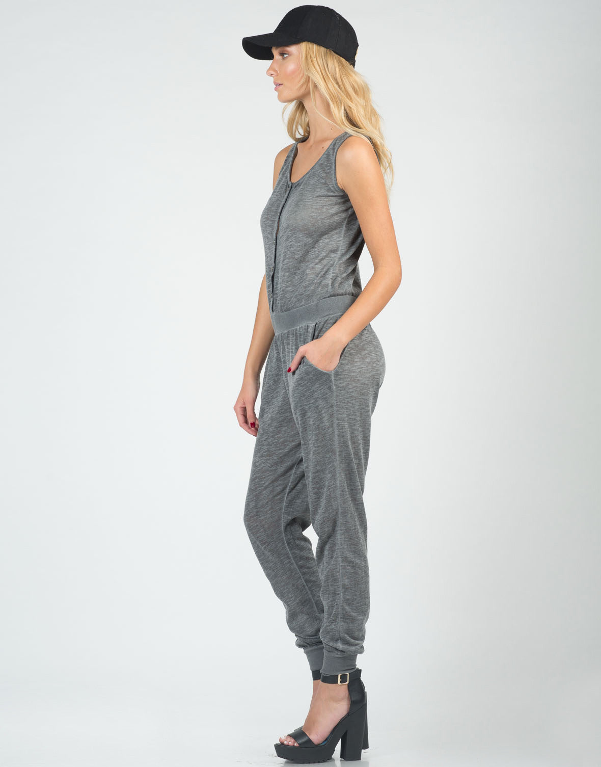 Side View of Heathered Button Down Jumpsuit