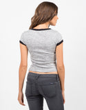 Back View of Heathered Contrast Tee