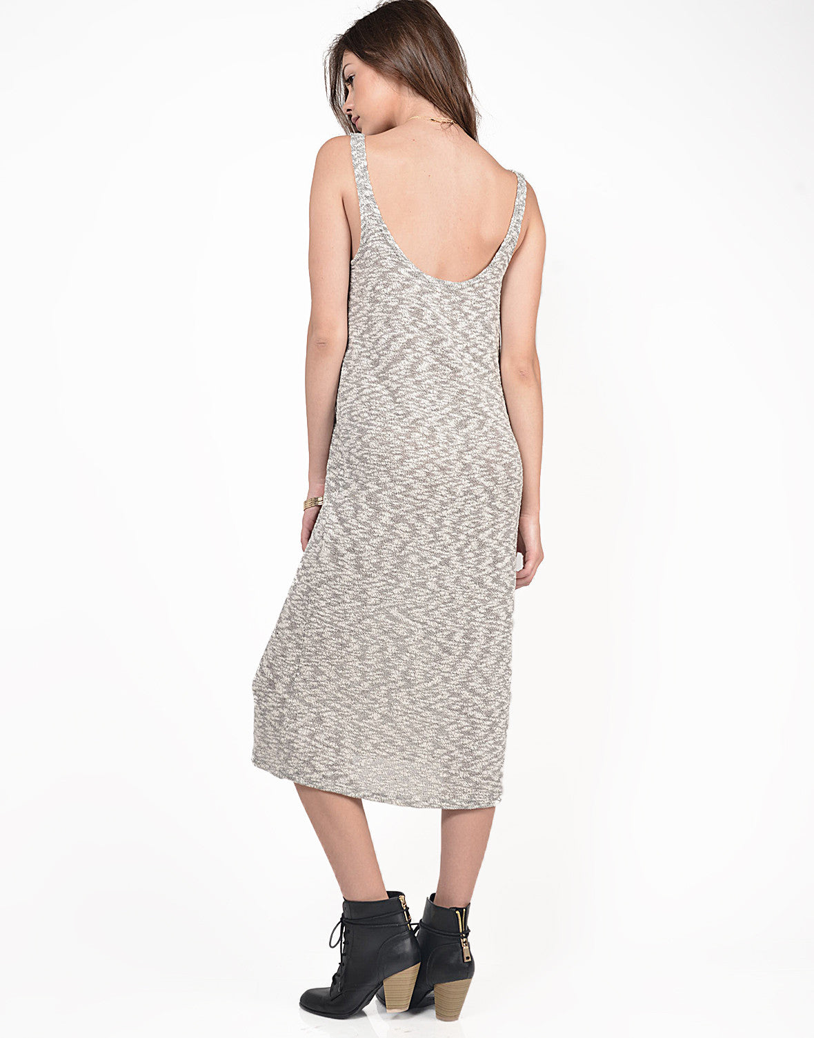 Back View of Heathered Knitted Midi Dress