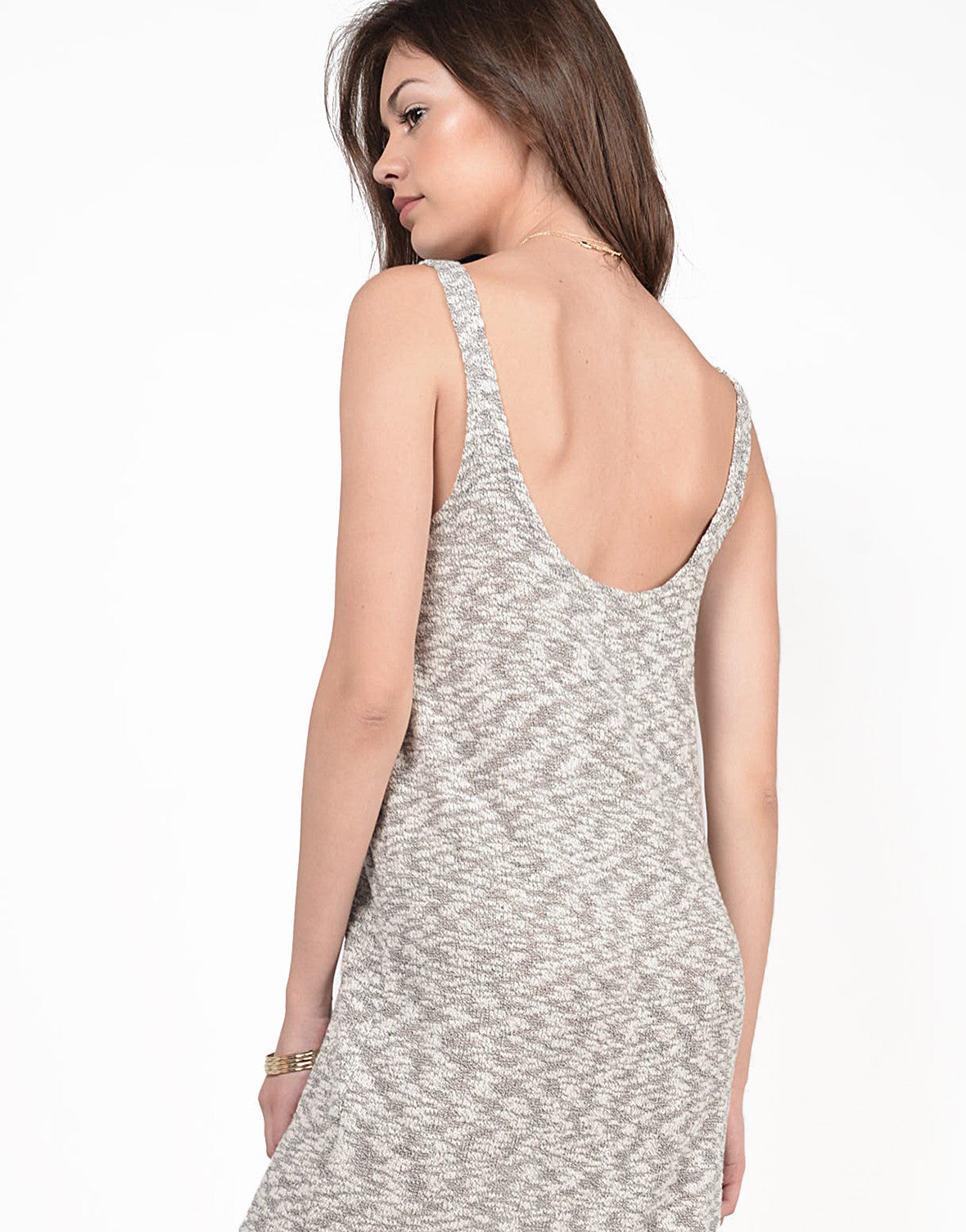 Detail of Heathered Knitted Midi Dress