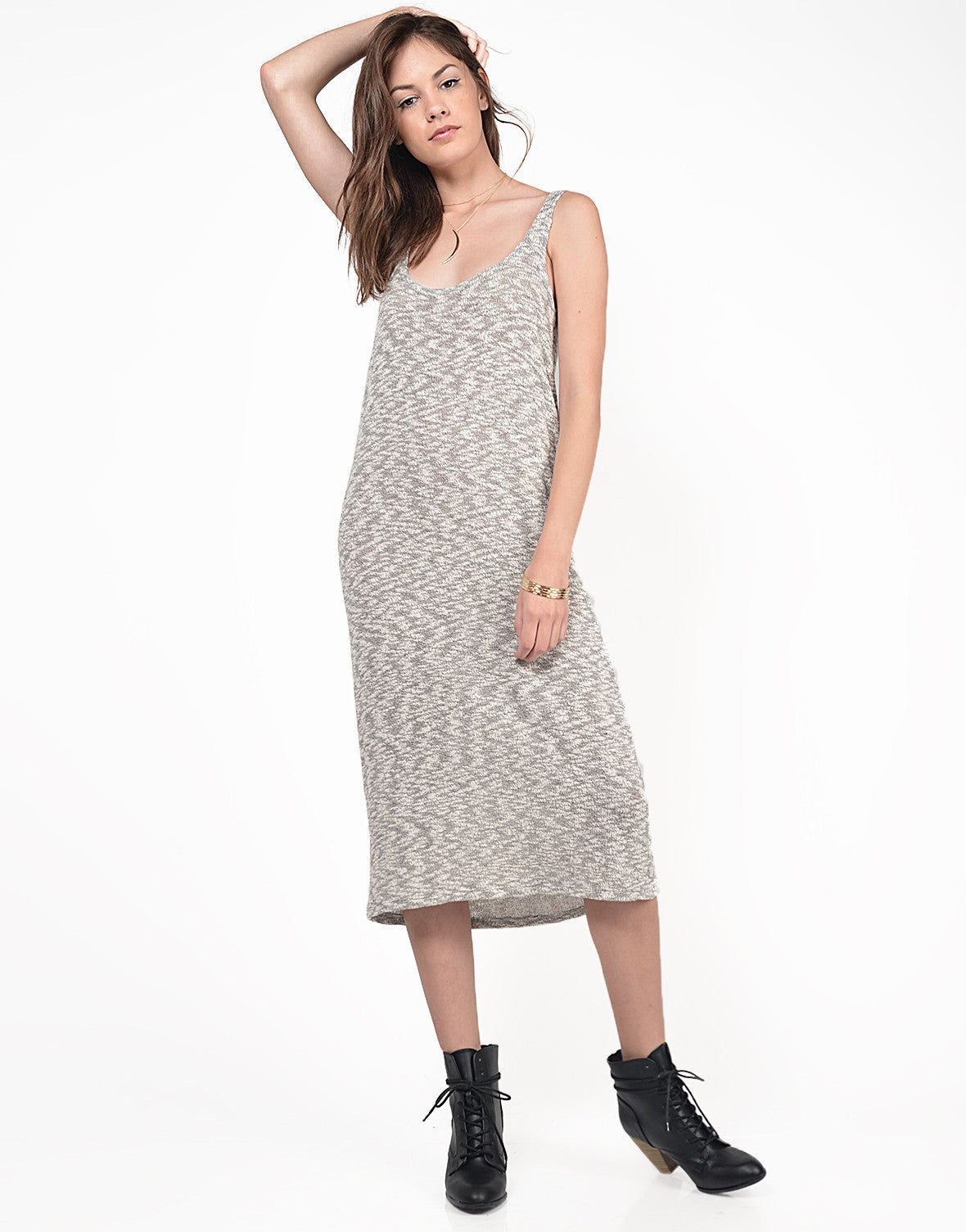 Front View of Heathered Knitted Midi Dress