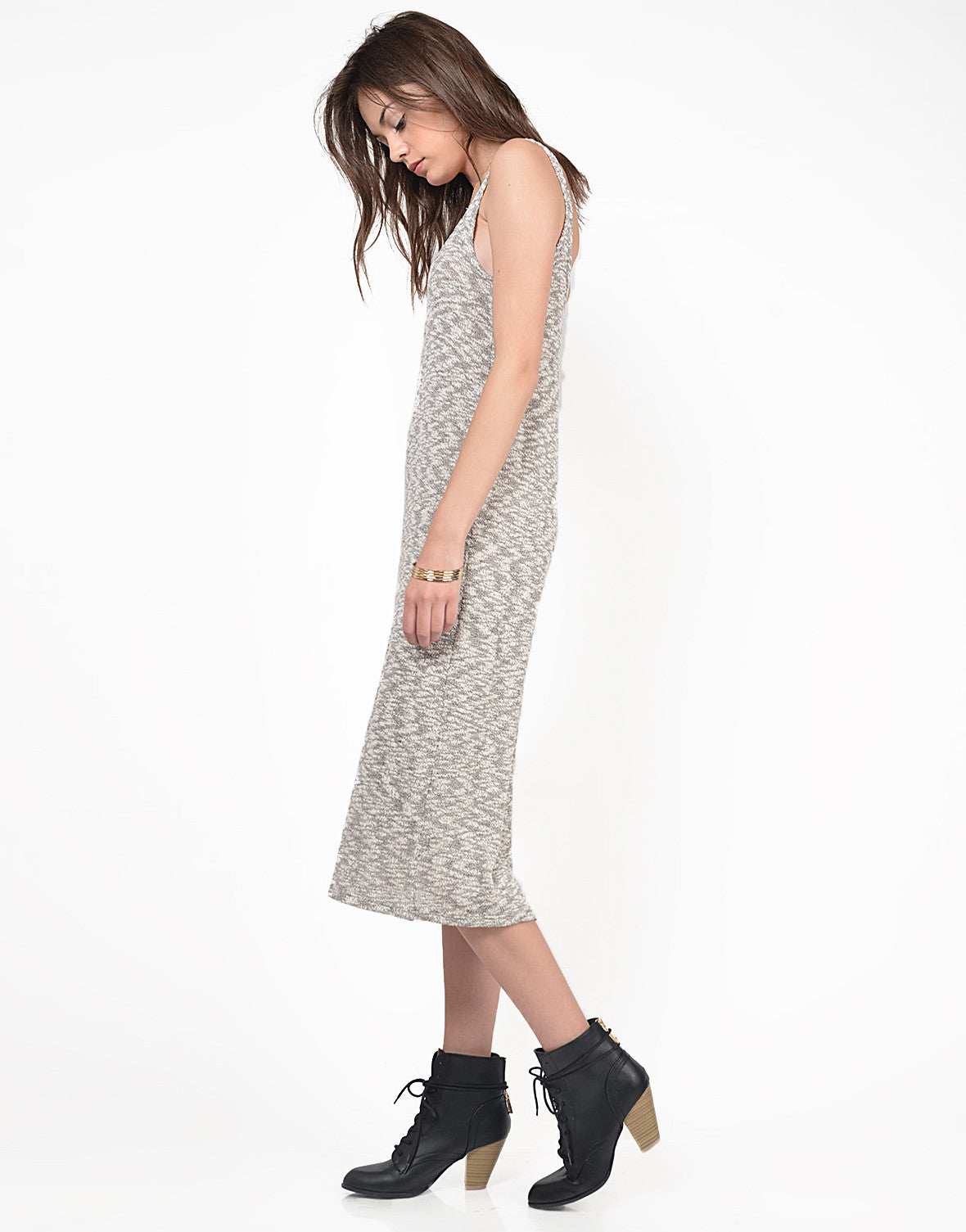 Side View of Heathered Knitted Midi Dress