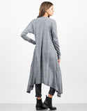 Back View of Heathered Long Cardigan