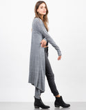 Side View of Heathered Long Cardigan