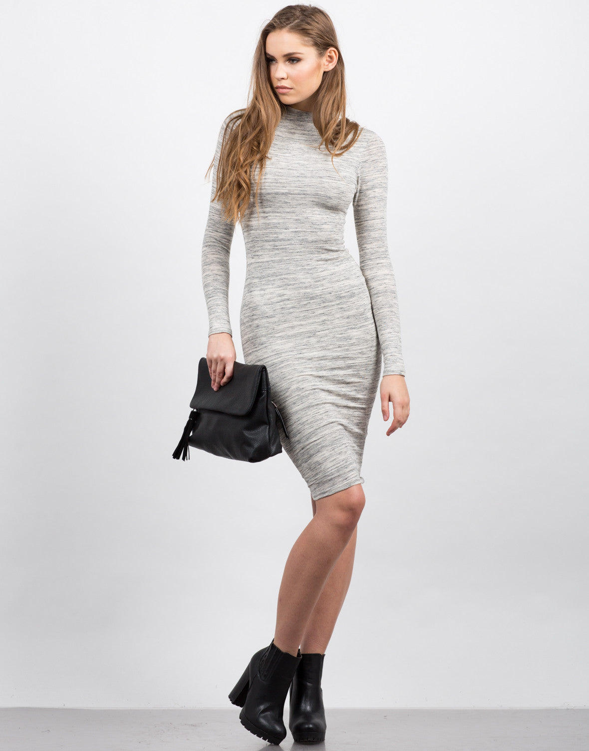 Heathered Long Sleeve Midi Dress