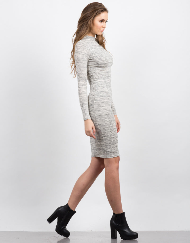 Heathered Long Sleeve Midi Dress - 2020AVE