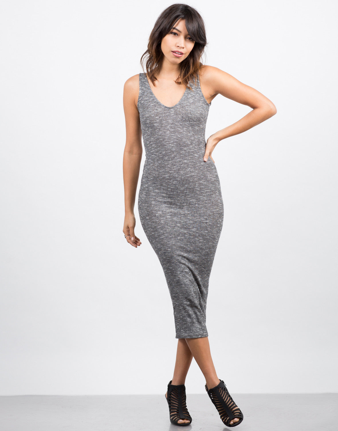 Front View of Heathered Midi Dress