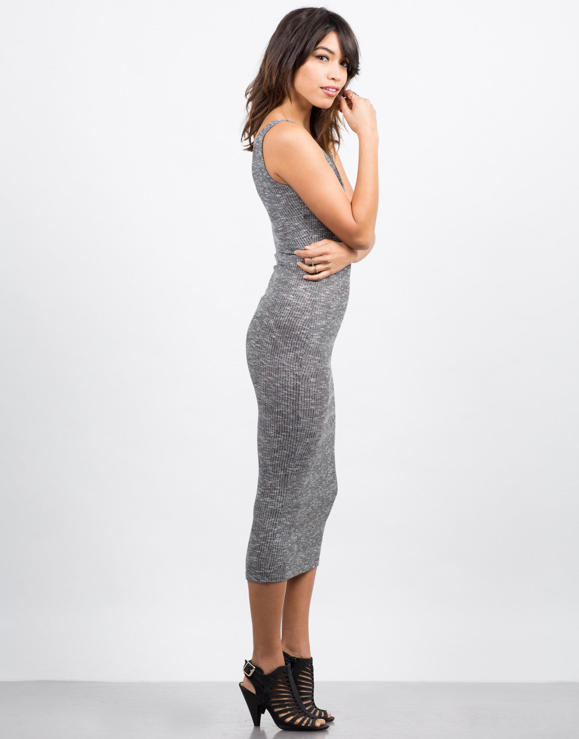 Side View of Heathered Midi Dress