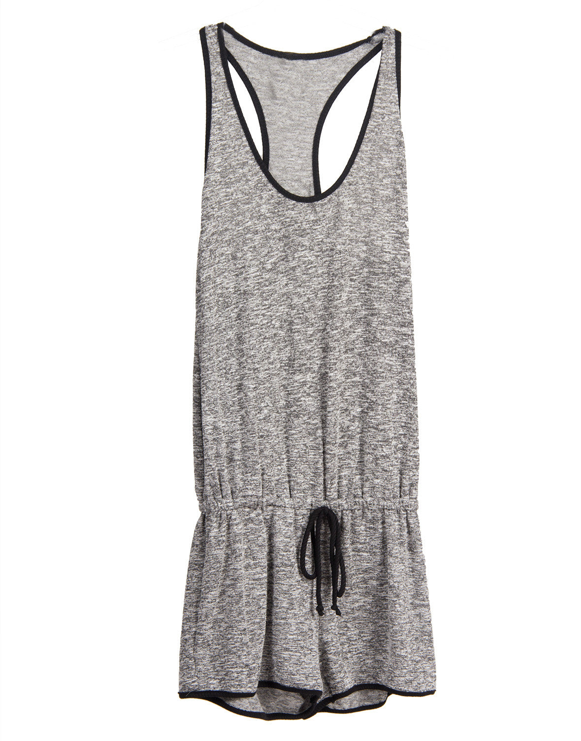 Heathered Solid Trim Romper - Large