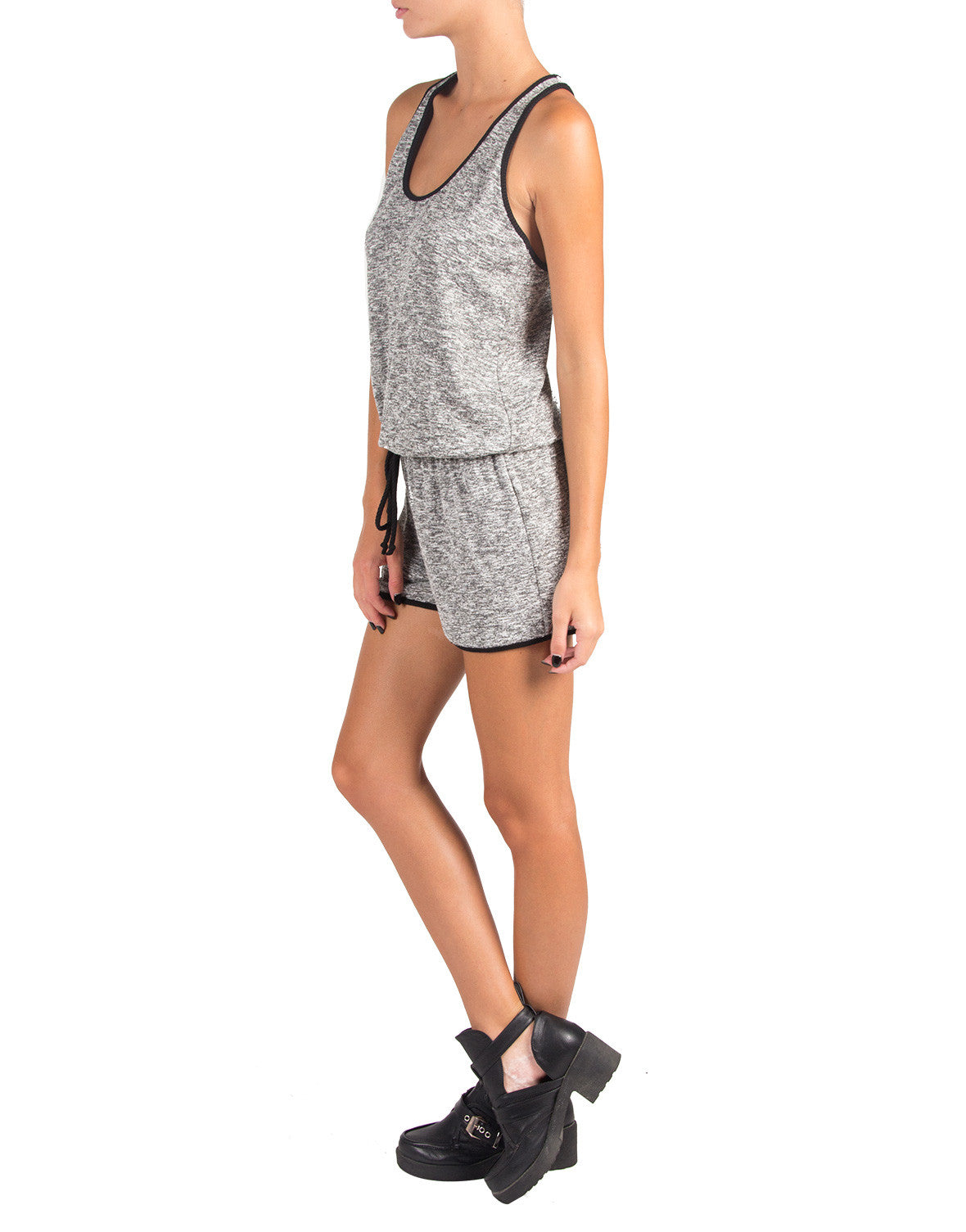 Heathered Solid Trim Romper - Large - 2020AVE
