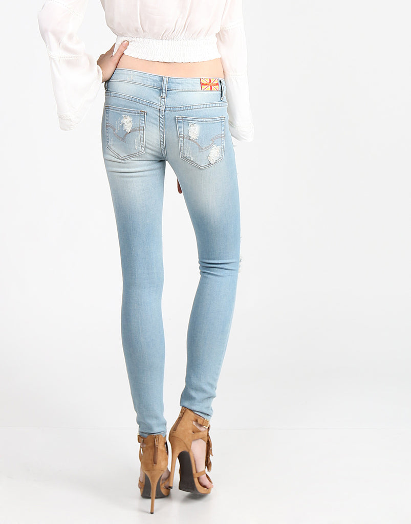 Heavily Destroyed Light Blue Denim Jeans - 2020AVE