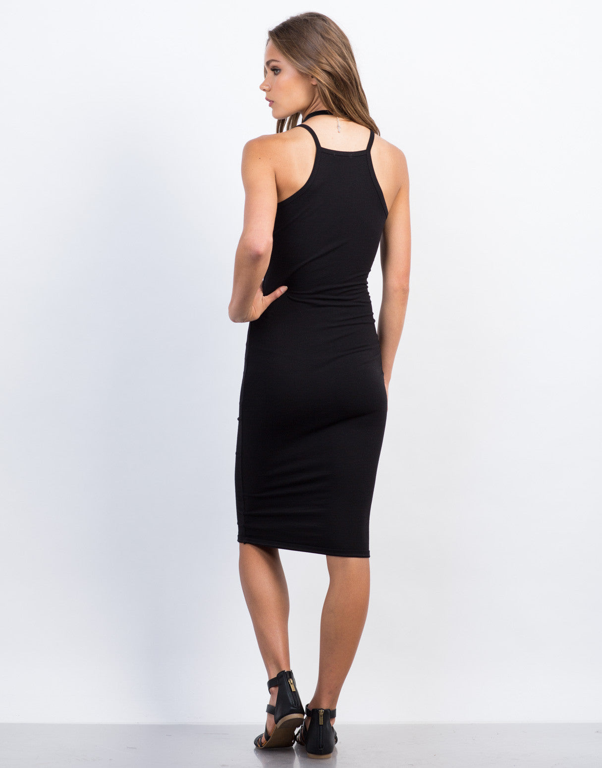 Back View of Henley Midi Dress