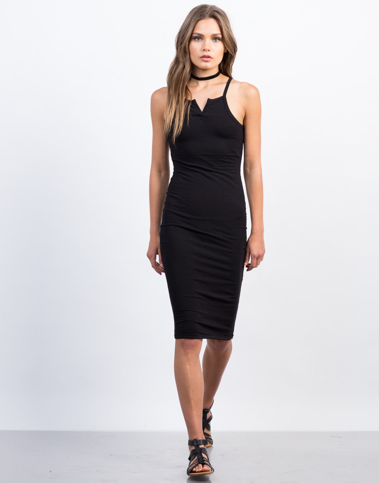Front View of Henley Midi Dress