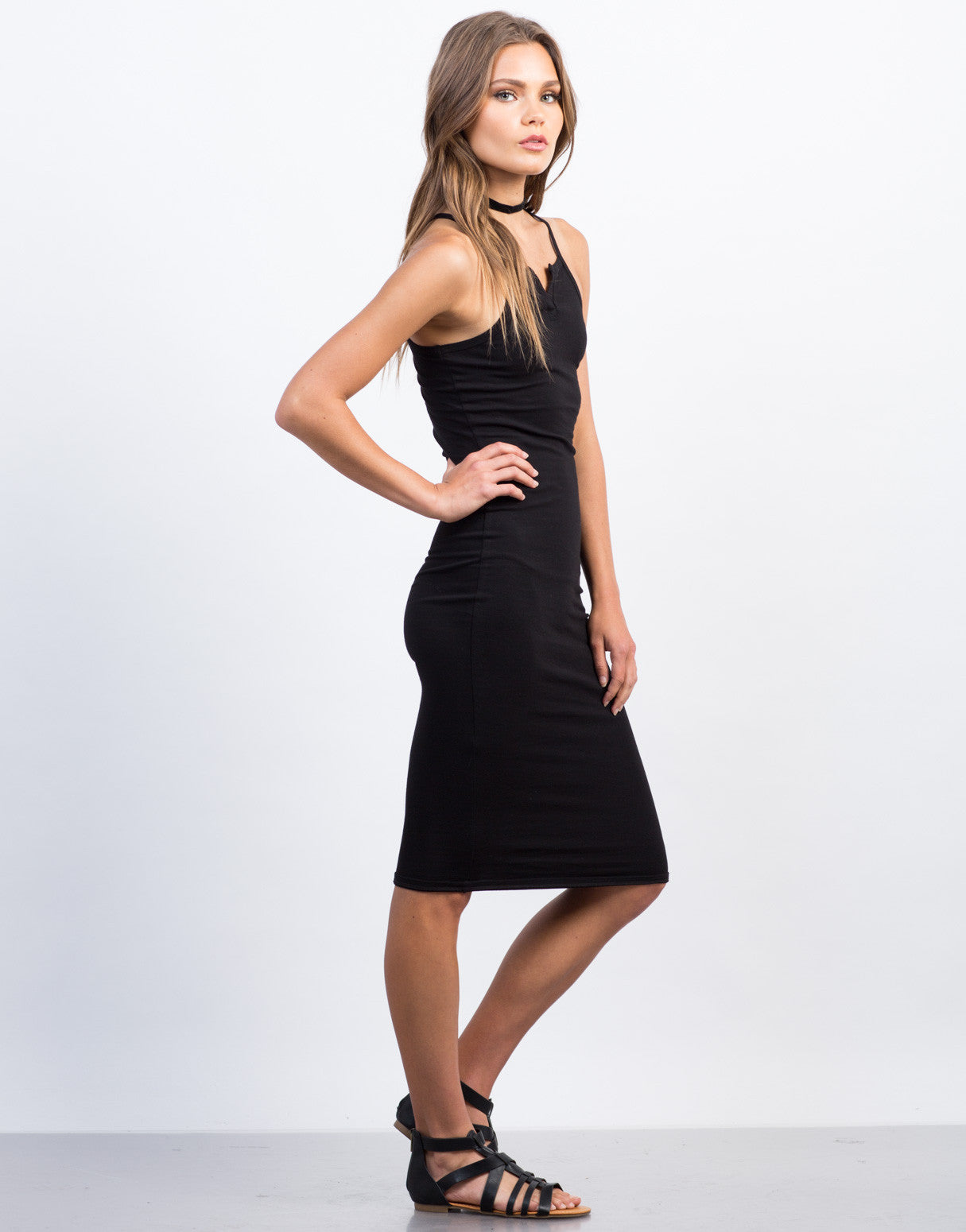 Side View of Henley Midi Dress