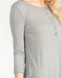 Henley 3/4 Sleeves Dress - Sage