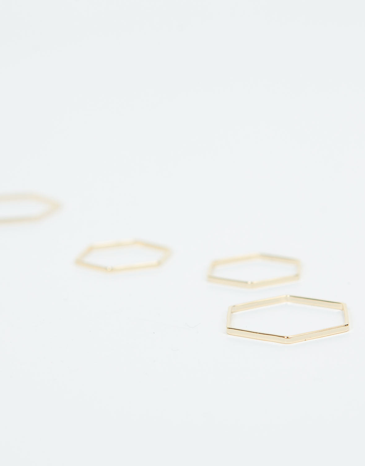 Detail of Hexagon Band Ring Set