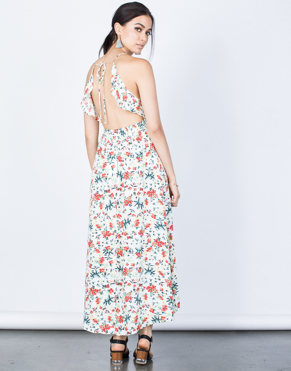 Back View of Hidden in Floral Dress