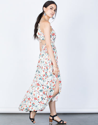 Side View of Hidden in Floral Dress
