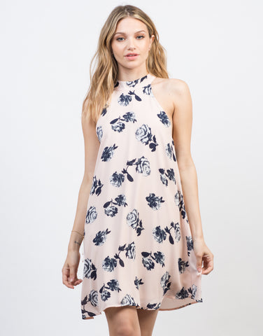 Front View of High Neck Floral Shift Dress