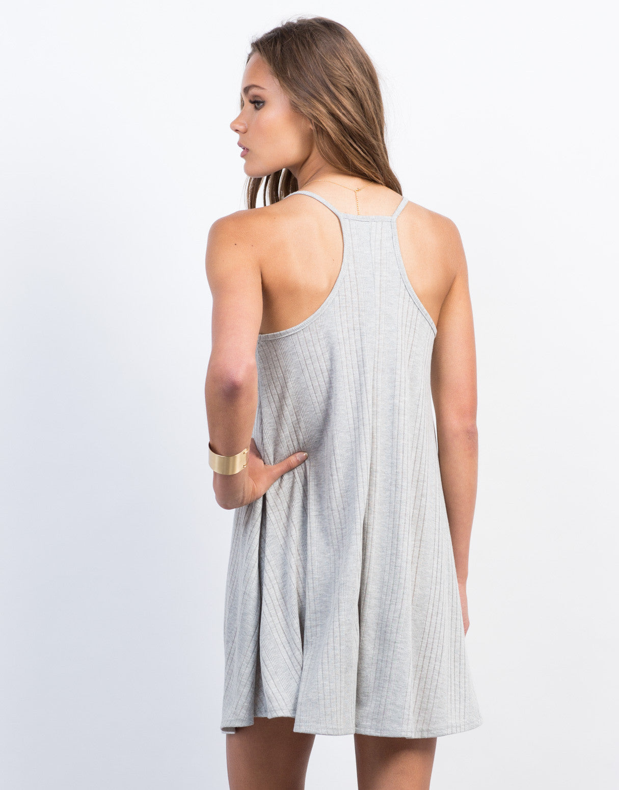 Back View of High Neck Ribbed Dress