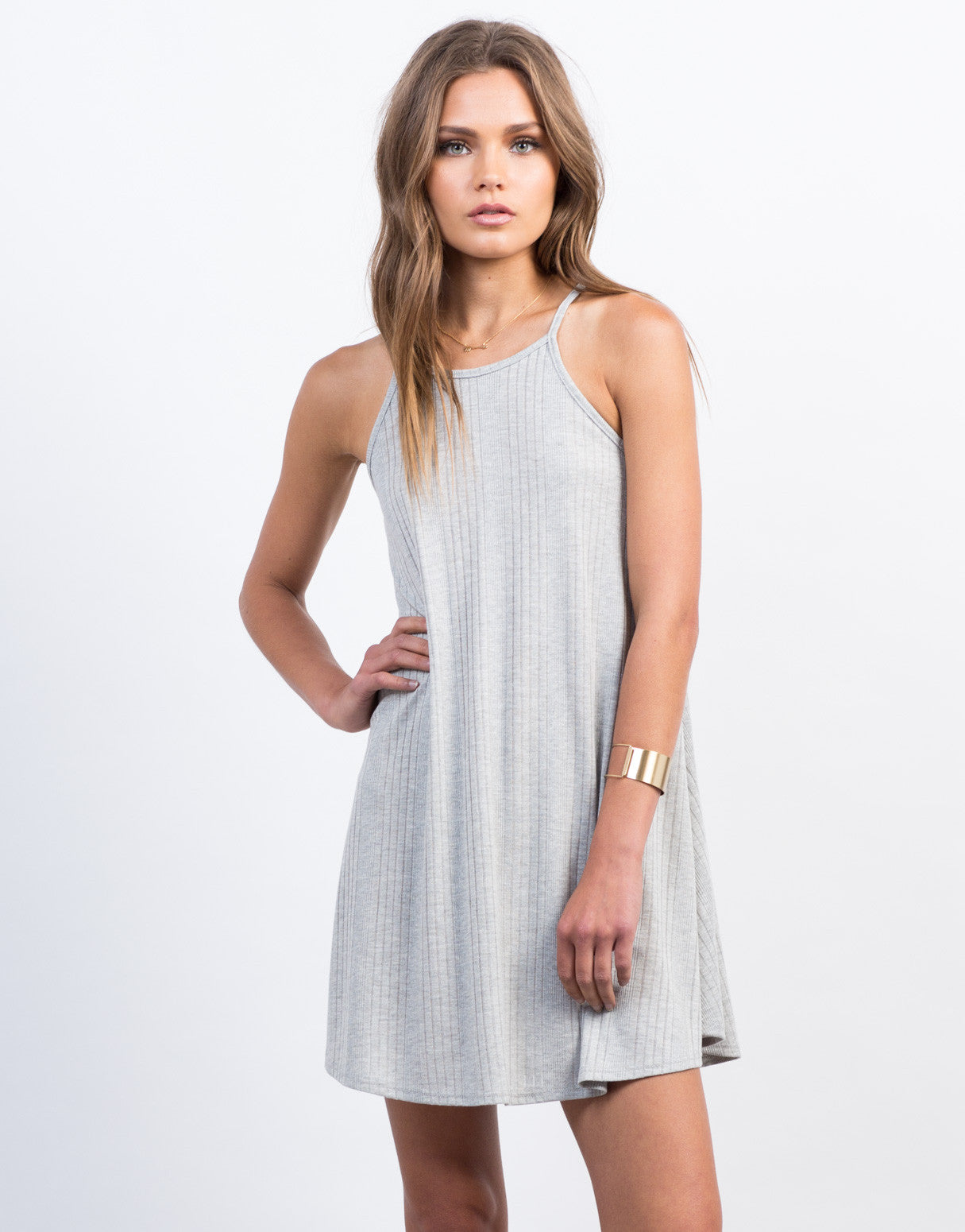 Front View of High Neck Ribbed Dress
