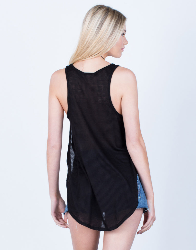 Back View of High Slit Flowy Tank