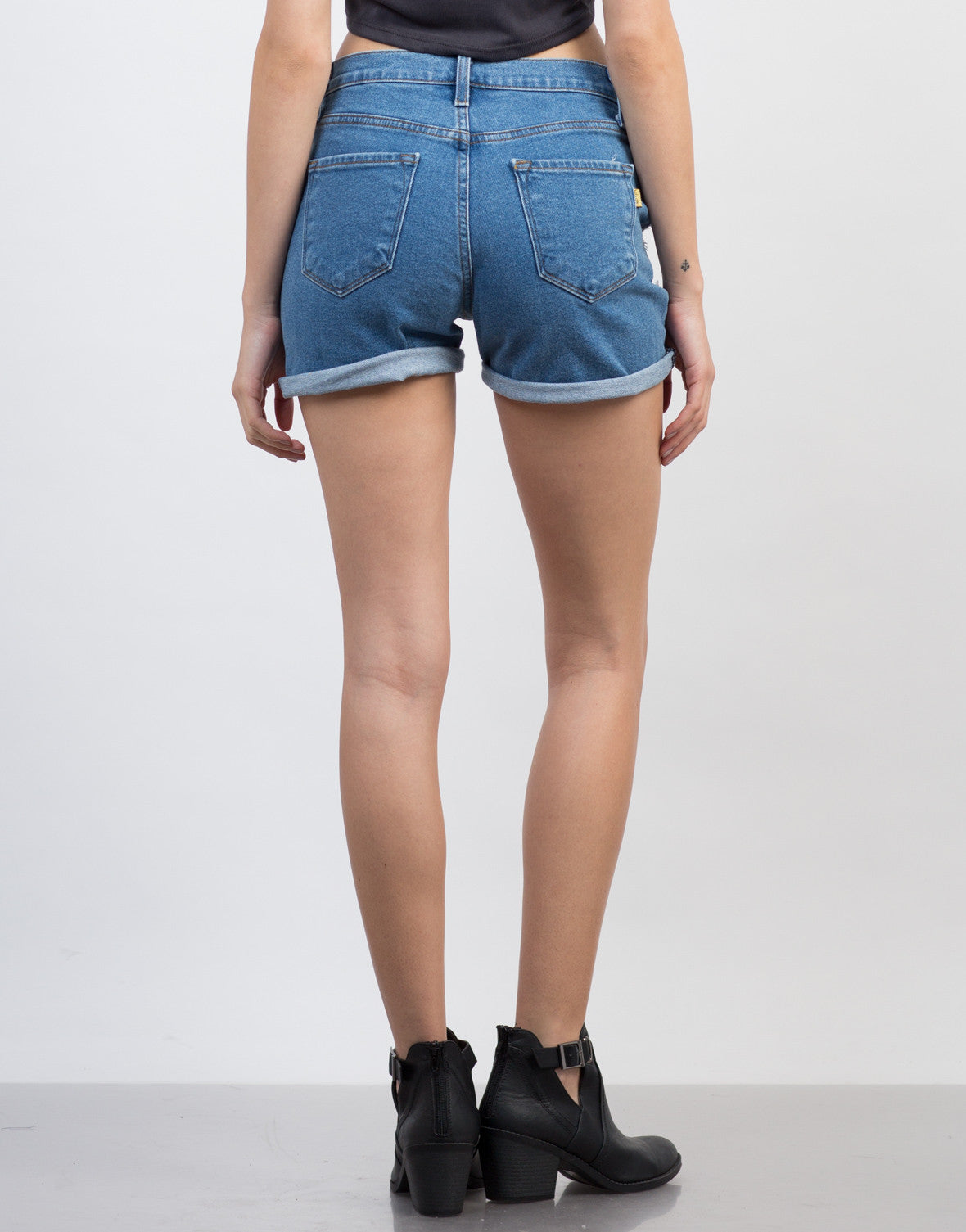 Back View of High Waist BF Denim Shorts