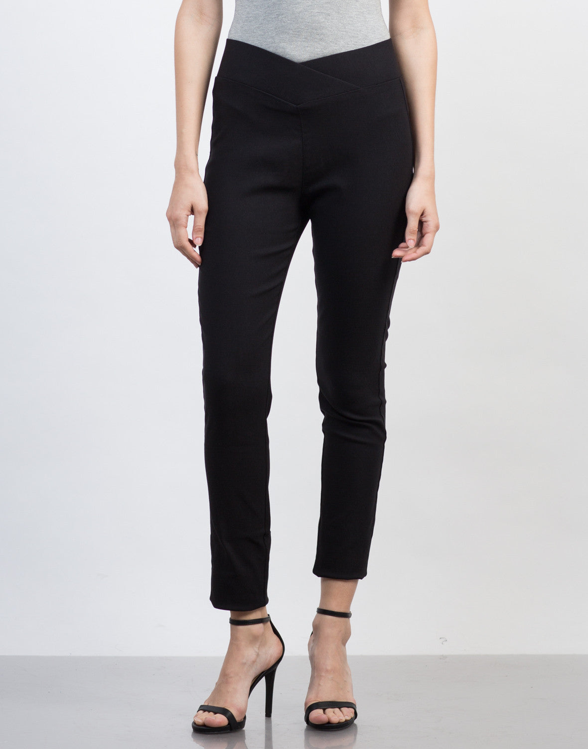 Front View of High Waisted Banded Pants