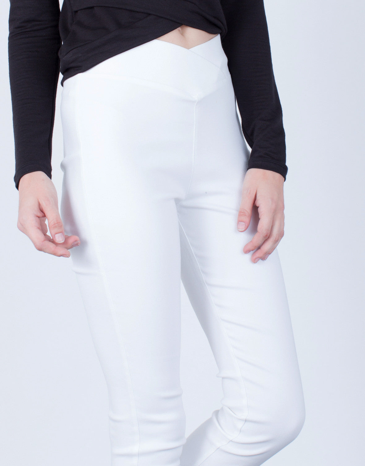 Detail of High Waisted Banded Pants