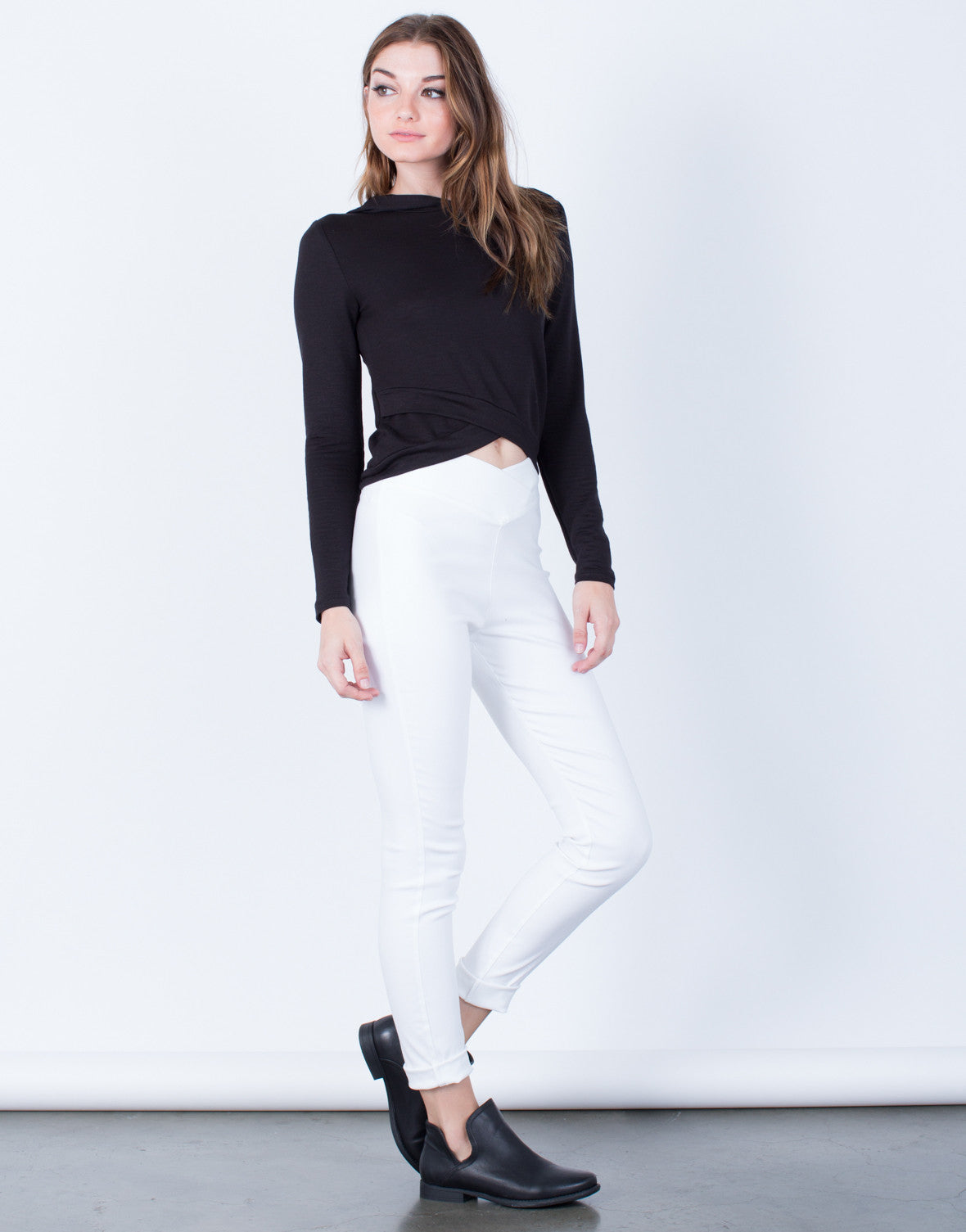 Side View of High Waisted Banded Pants