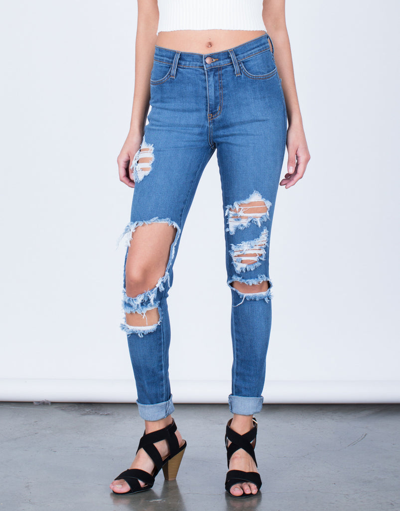 High Waisted Cuffed Denim Jeans - 2020AVE