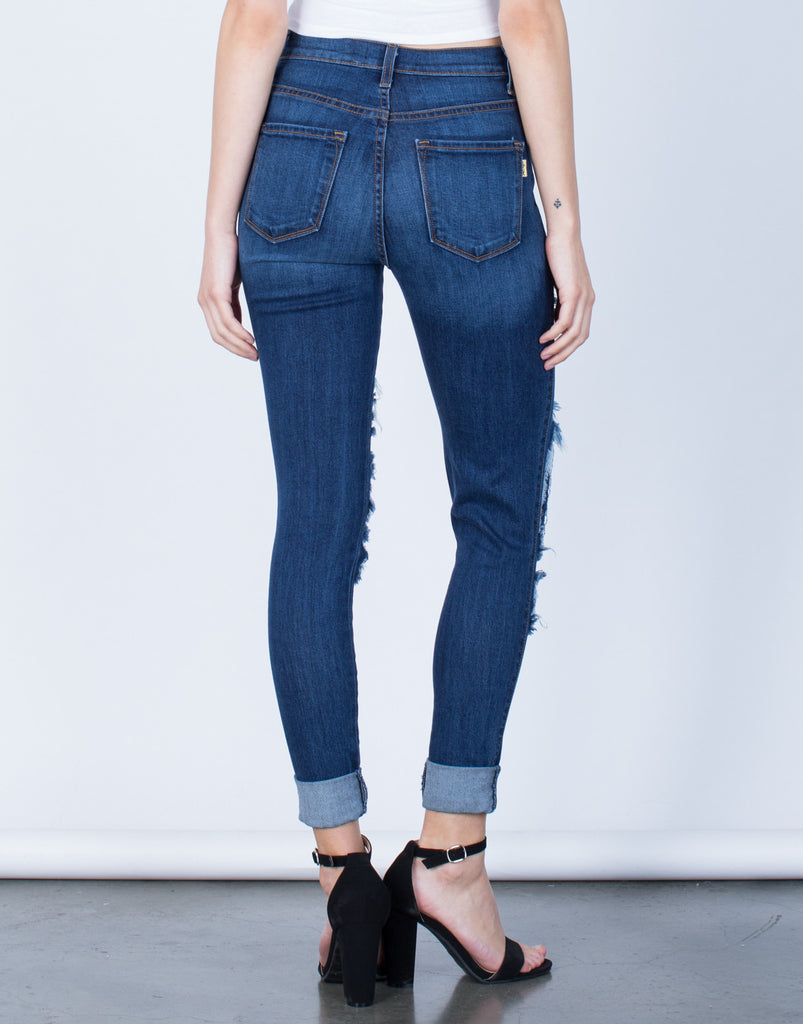 Back View of High Waisted Cuffed Denim Jeans