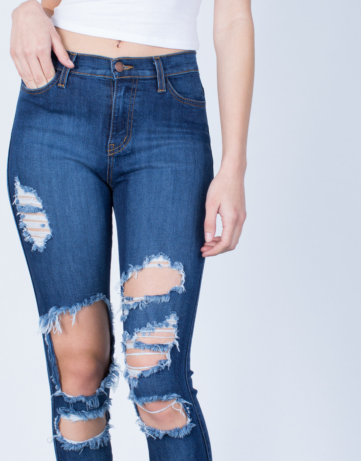 Detail of High Waisted Cuffed Denim Jeans