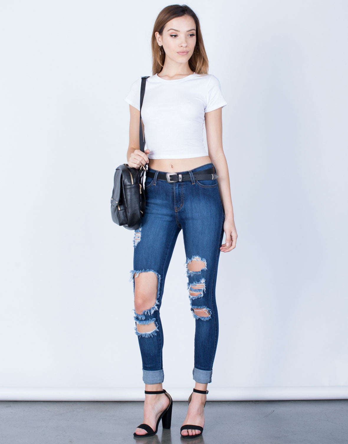 Front View of High Waisted Cuffed Denim Jeans