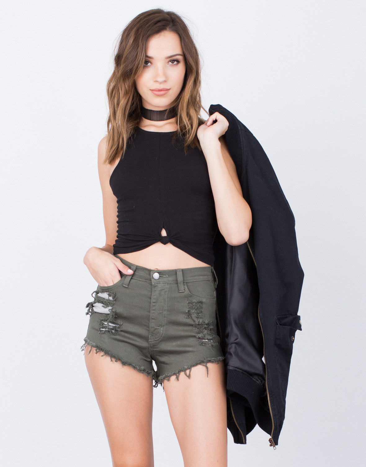 High Waisted Denim Shorts - 2020AVE