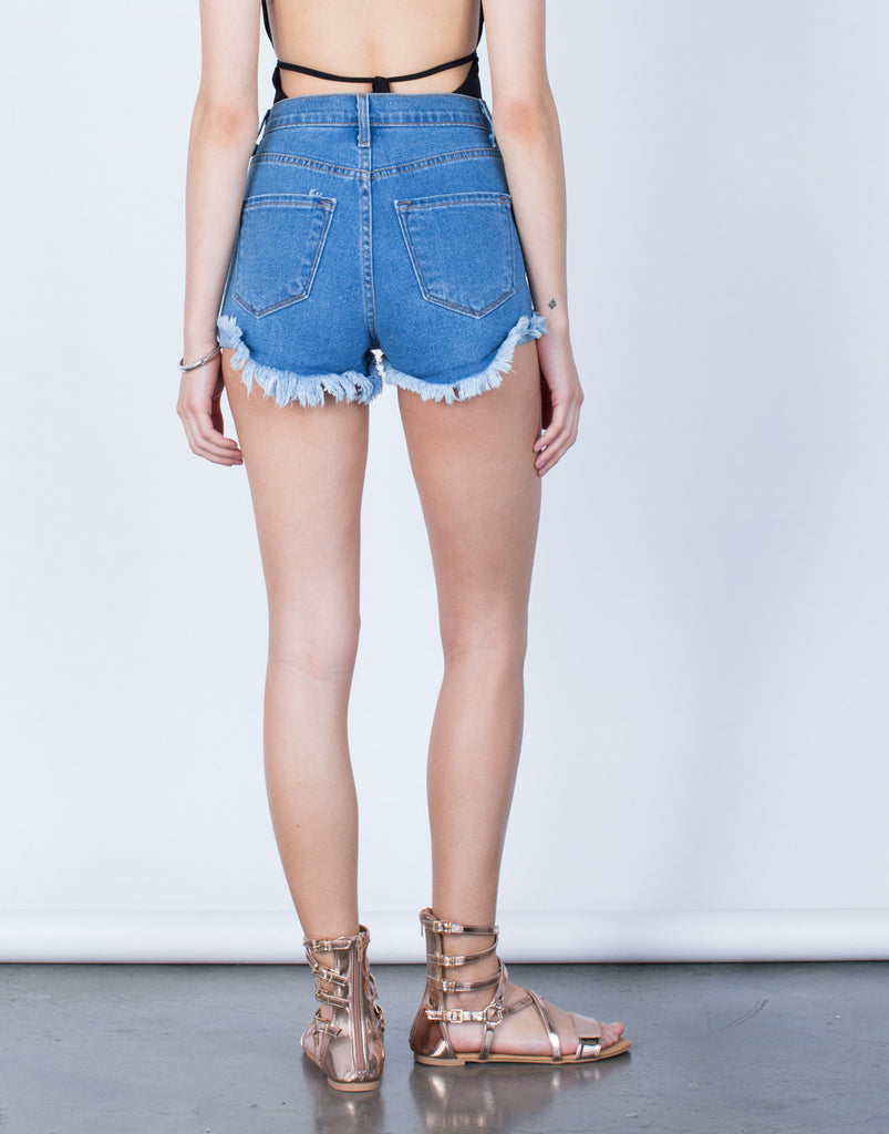 Back View of High Waisted Destroyed Shorts