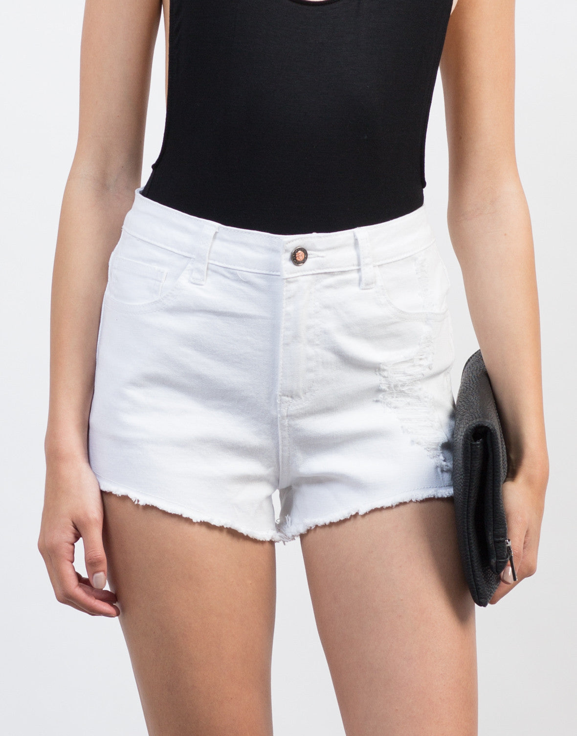 Detail of High Waisted Distressed Shorts