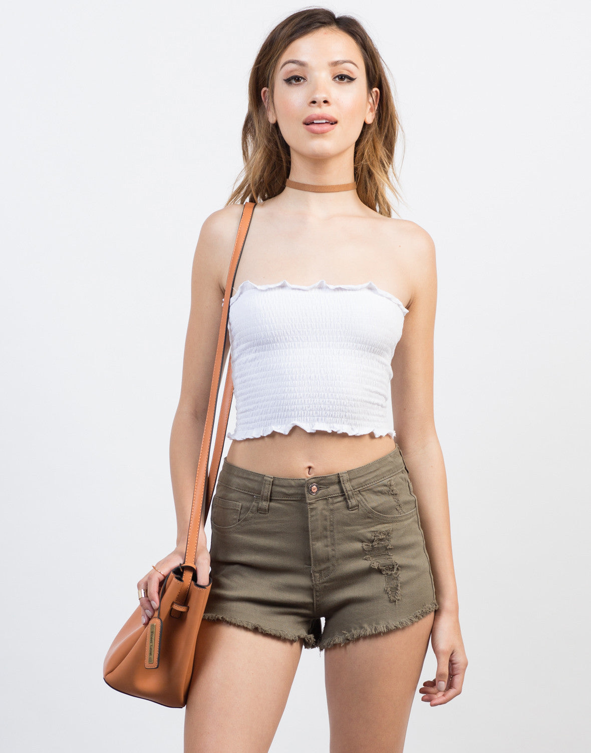 Front View of High Waisted Distressed Shorts